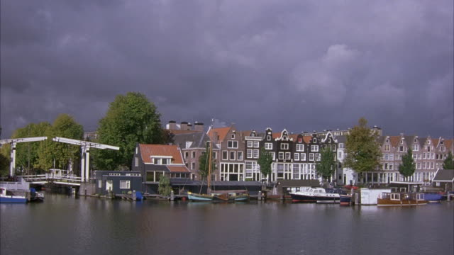 WIDE ANGLE OF AMSTERDAM CANAL LOCK. SEE HOUSES ACROSS WATER. SEE HOUSEBOATS AND BOATS IN WATER.