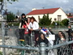 June 2005 MONTAGE Michael Jackson fans cheering as he leaves the Santa Maria courhouse where he is standing trial for child abuse / California United...
