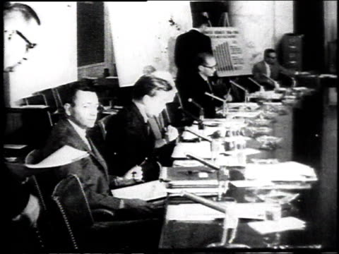 May 1965 MONTAGE Robert Kennedy testifying on gun control before Congressional committee / United States