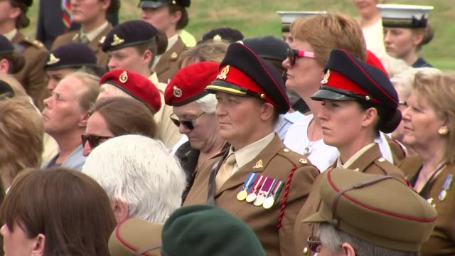 100th anniversary of the Women's Army Auxiliary Corps marked at National Memorial Arboretum service of dedication Various shots of members of armed...