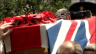 100th British soldier killed in Afghanistan this year T08070908 London Wellington Barracks Guards Chapel EXT Close Shot Flag draped coffin of Major...