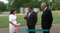 Fight against terrorism ENGLAND London Hyde Park EXT Ken Livingstone and Hanif Qadir interview SOT