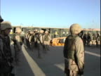 15th Jan 2004 WS PAN US Soldiers during morning formation / FOB Speicher Iraq / AUDIO