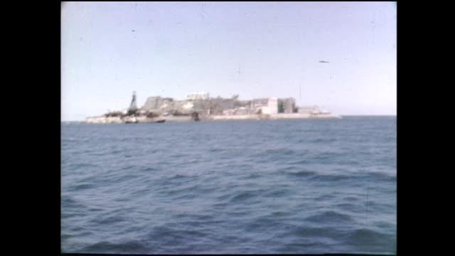 16mm film clip of Gunkanjima Nagasaki Japan in 1970sone of the UNESCO World Heritage sites