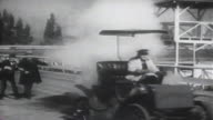 1900s B/W MONTAGE Man in his car races horse and buggy / United States