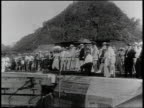 1910s B/W curious onlookers staring into the Panama Canal / Panama