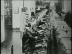 B/W 1920s high angle busy telephone operators working at switchboard