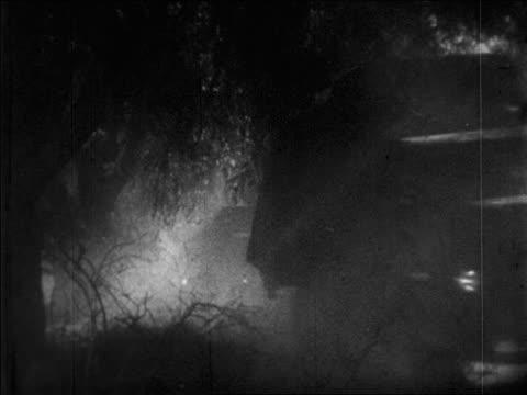 B/W 1920s line of trucks driving under willow trees on road / newsreel