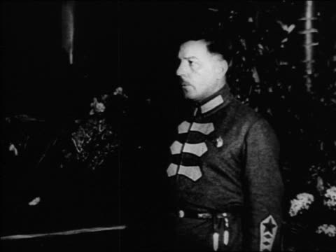 B/W 1920s PROFILE Russian man in uniform / Russia / documentary