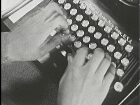 1930s B/W CU, HA, Person rapidly typing on typewriter, New York City, New York State, USA