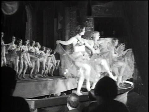 1930s MONTAGE Chorus girls dancing on stage / Berlin, Germany