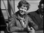 B/W 1930s PORTRAIT Amelia Earhart standing next to husband George Putman leaning on railing