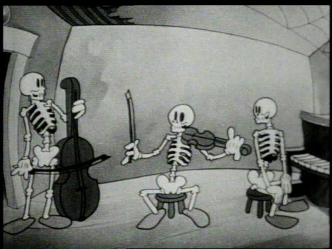 1930s WS skeletons playing upright bass, fiddle, and piano