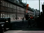 1930s street w/traffic red swastika flags / Vienna Austria