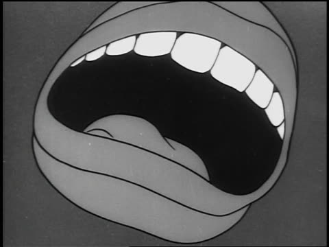 B/W 1940s ANIMATED close up mouth talking/shouting