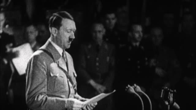 1940s B/W MONTAGE Adolf Hitler having speech / Germany