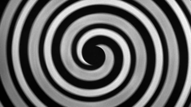 1940s close up black and white manic spiral