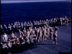 1940s HA Crowd of crewmen gathering on deck of carrier