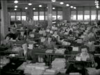 B/W 1940s high angle large room with women at tables using adding machines