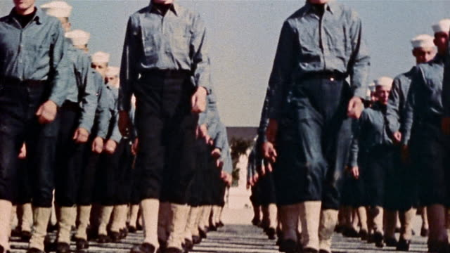 1940s US Navy recruits marching in drill at naval training center