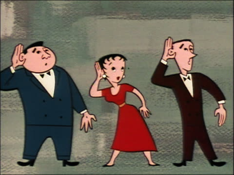 1950s ANIMATION medium shot two men and a woman walking in a line + looking puzzled / looking happy
