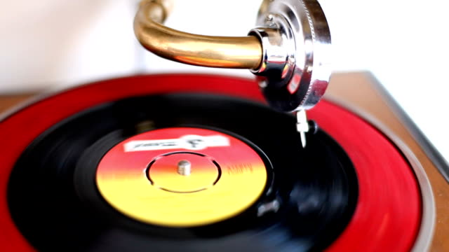 1950s Record Player Grammophone and Longplay Disc
