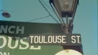 1950s CU LA Toulouse Street sign, New Orleans, Louisiana, USA