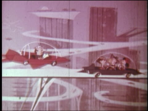1960s ANIMATION man in futuristic car passes (flies) over car on elevated highway
