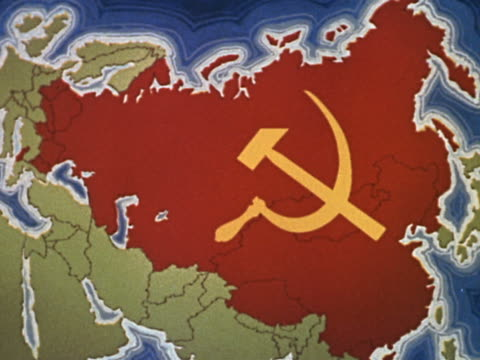 1960s medium shot map of Europe with the USSR in red and a hammer sickle insignia superimposed