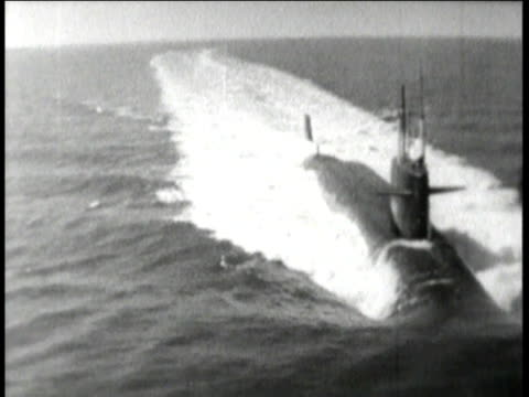 1960s WS Polaris submarine sailing in the ocean