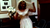 1960s REENACTMENT MS bride dancing around holding bouquet inside church