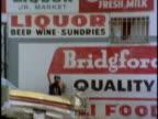 1970s MONTAGE Liquor stores exteriors, Los Angeles, California, USA, AUDIO