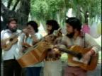 1970s MS ZI CU Street musicians singing in Spanish, Los Angeles, California, USA, AUDIO