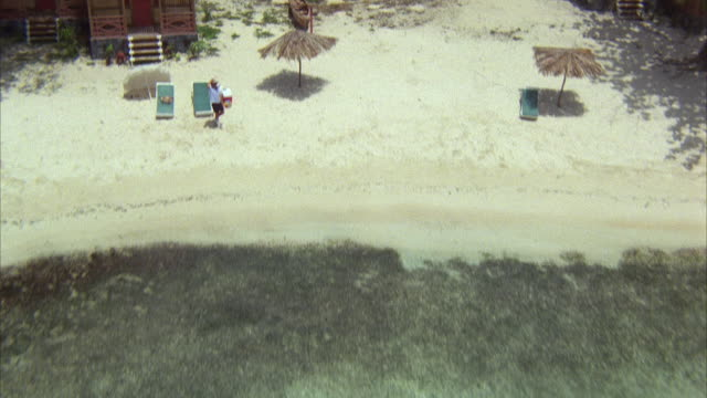 1980s AERIAL POV Flying over tropical resort and beach, crashing into trees