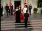 1980s zoom in Princess Diana Prince Charles exit limousine greet pose with Ronald Nancy Reagan