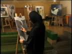 1st April 2000 MS Woman in hijab sketching in studio / Tehran, Iran