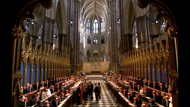 200th Anniversary of abolition of slavery Protester disrupts service ENGLAND London Westminster Abbey INT High angle shots of protestor shouting at...