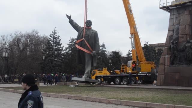 A 20metre statue of Vladimir Lenin the biggest remaining Lenin statue has been taken down in Zaporizhzhya Ukraine on March 17 2016