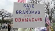 21Mar2010 MS Protestors holding sign saying Save the Grandmas Stop Obamacare / Washington DC USA / AUDIO