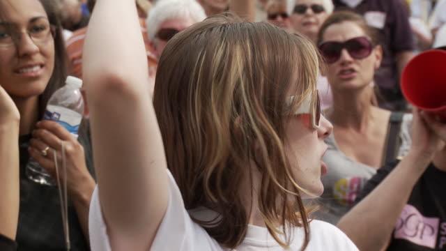 21Mar2010 CU Young female protestor chants No More Nancy / Washington DC USA / AUDIO