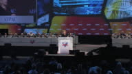 22Mar2010 WS ZI MS Secretary of State Hillary Clinton strides on stage at Washington Convention Center to give speech before AIPAC / Washington DC