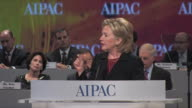 22Mar2010 MS Secretary of State Hillary Clinton strides on stage at Washington Convention Center to give speech before AIPAC / Washington DC