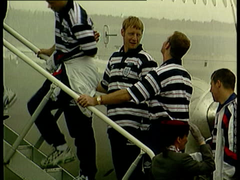 25May1998 MONTAGE Team boarding plane World Cup / United Kingdom