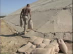 25th Dec 2003 MONTAGE Soldiers carrying sandbags up side of hangar to make gun placement / LSA Anaconda Iraq / AUDIO