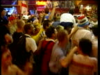 30Jun1998 MONTAGE England beaten by Argentina fans watching in St Etienne bar Argentine fans both fans together misery at end / United Kingdom / AUDIO