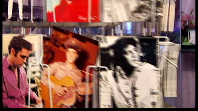 30th anniversary of death of Elvis Presley 'Elvisly Yours' Shop Unidentified Elvis song Elvis postcards on rack Elvis tshirts on rack Elvis 'Russian...