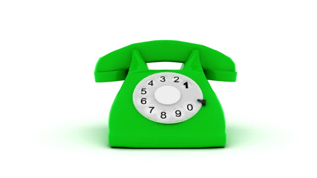 3d  animation of green phone ringing and picking up