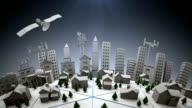 3d City with telecommunications satellite and cell towers
