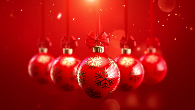 3d rendering five red decorated christmas balls with bows on sparkling background seamlessly loop-able animation