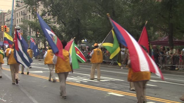 46th Annual West Indian Day Parade Participants Walk During Parade with Flags at Eastern Parkway Brooklyn on September 01 2013 in New York New York